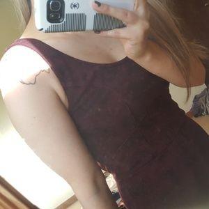 printed merlot dress